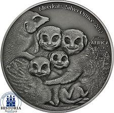 Afrika Serie: Kongo 1000 Francs CFA 2013  Erdmännchen  Meerkats Silver Ounce