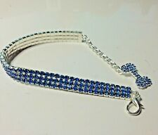 BLUE Diamond 3row Dog Pet Bling Jewellery Collar Medium Length 25cm+7cm extender