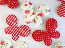60 Red Cotton Fabric Butterfly Applique/Gingham Check/Polka Dot/Floral Trim H109