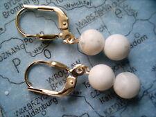 weiße Howlith Kugel Ohrhänger Gold 333, Ohrhänger Gold 333 mit Howlith 6 mm weiß