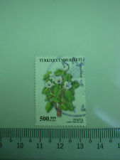 500.000 Lira Turkey Stamp Flower Themed Art White Background
