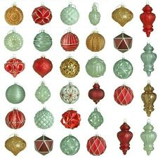 50 Glass Christmas Tree Ornaments Red White Gold Painted Holiday Decorations Set