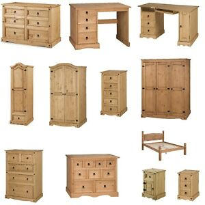 Corona Furniture Solid Pine Bedroom Beds Bedside Tables Chests Drawers Wardrobes
