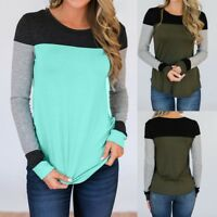 Fashion Womens Long Sleeve O-Neck Patchwork Blouse T-shirt Autumn Holiday Tops