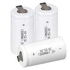 Pro 3 pièces A Set 1.2V 1300mAH Sub C SC Ni-Cd batterie rechargeable blanc piles