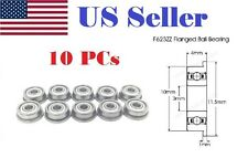 10 x F623zz Mini Metal Double Shielded  Flanged  Ball Bearings 3mm x 10mm x 4mm
