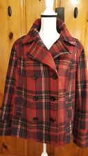 Old Navy women's size XL Peacoat Jacket Plaid Poly-Wool Lined color Red