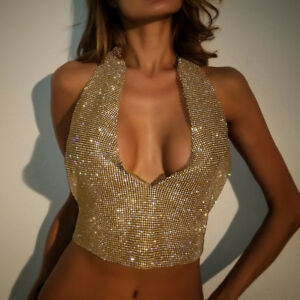 Sexy Hot Club woman rhinestones chain halter top backless Deep-V neck YX663