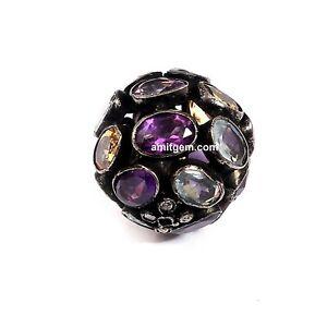 Blue Topaz Amethyst Citrine 925 Sterling Silver Diamond Round Ball Stone Beads