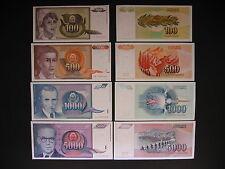 YUGOSLAVIA  100 + 500 + 1000 + 5000 Dinara 1991  (P108 - P111)  UNC