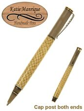Capped Ballpoint with Embossed Leather Body and Antique Brass Hardware / #484