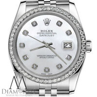 Unisex Datejust Rolex 36mm White MOP Mother of Pearl Dial Diamond Bezel Watch