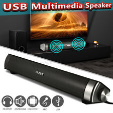 USB Audio Multimedia Soundbar Speaker System Subwoofer For Computer PC Laptop TV