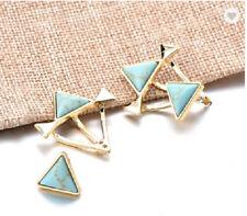 Pendientes Aros pendientes triángulos TRIANGULO Oro Turquesa Brillante