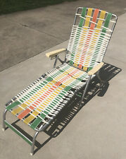 Vintage Aluminum Folding Vinyl Chaise Lounge Lawn Chair Striped!!