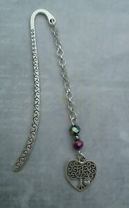 Tibetan Silver Bookmark- Pretty Beads & Heart Tree of Life Charm - Present/Gift.