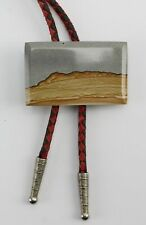 Vintage Bolo Tie Wood Two Tone Laminated