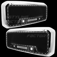 11-16 Ford Super Duty Rivet Black SS Mesh Grille+Chrome Shell+3x LED Lights NEW