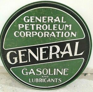 """GENERAL GASOLINE BRAND OIL/ PETROL, ROUND 12"""" METAL WALL SIGN/PETROL, GAS, DINER"""