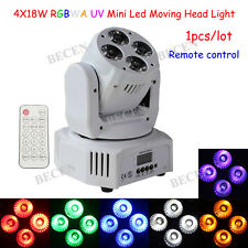 White shell 4X18W RGBWA UV 6in1 wash moving head light with remote for sale
