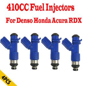 4 Pcs New 410cc Fuel Injectors For Denso Honda Acura RDX Civic 1.6L RSX 2.0L