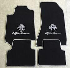 Autoteppich Fußmatten für Alfa Romeo Giulia 952 schwarz silber Velours 4tlg Neu