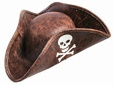Mini Brown Pirate Hat with Skull and Crossbones Costume Accessory