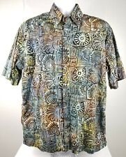Johari West Sz L Button Brown Hawaiian Shirt Short Sleeve Batik Abstract