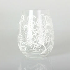 Xpressions 4 U  STEMLESS TUMBLER DRINKING GLASS GIN WINE COCKTAILS  White Floral