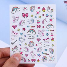 Unicorn 3D Nail Stickers Adhesive Transfer Decals Rainbow Star Heart Decoration