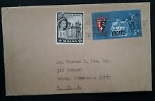 1964 Malta Cover ties 2 stamps cancelled Valletta to Tracy USA