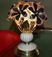 AWESOME Mid-Century Modern Flower Bouquet Lamp Lucite Flowers Black Centers!