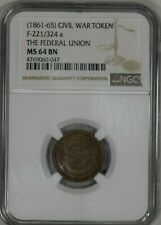 1861-65 Civil War Token F-221/324 a The Federal Union Ngc Ms64 Bn Toned