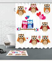 "72//79/""Valentine/'s Day Bath Fabric Shower Curtain /& Mat Rug /&12Hook-Bowknot Heart"