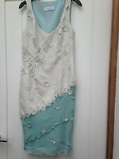 WOMENS KAREN MILLEN SUEDE EFFECT FLOWER EMBELLISHED SUMMER DRESS UK 10