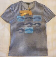 New ANTONY MORATO Striped Print Blue Lips Slim Fit Small T-Shirt FREE Delivery