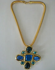 Yves Saint Laurent Rive Gauche Gripoix Jeweled Cross Necklace