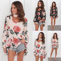 US Women Choker V-Neck Long Sleeve Blouse Floral T-shirt Loose Tops Plus Size 41