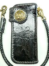 Right hand Leather biker trucker wallet motorcycle Chain Long Horn Skull Tooled