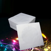 Mini 100x Disc CD White Paper Sleeves DVD CD-R Case Protector B3R6 S1W7 A0X2