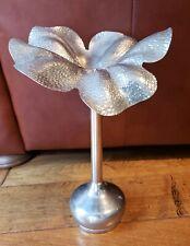 Vintage Godinger Bud Rose Flower Stem Silver Tone Metal 3 Piece Vase Bouquet