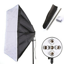 E27 5 PRESA Foto LUCE LAMPADINA STAFFA SUPPORTO + 60cm 90cm Studio softbox kit