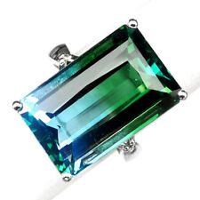 AMETRINE BI COLOR BLUE GREEN 22.50 CT. 925 STERLING SILVER RING SIZE 6.25 GIFT