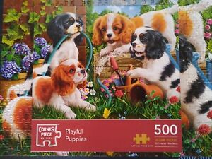 Ayful Pups Puppy Dogs in 500 Piece Jigsaw Puzzle King Charles Spaniels pet