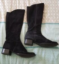 WITTNER Calf High Leather Suede Flat Black Boots Size 36 B1
