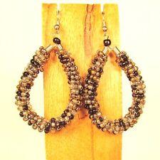 """2"""" Black Gold Multi Color Bohemian Handmade Seed Bead Hoop Earring"""