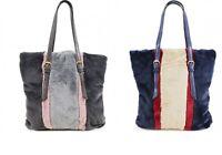 New Women's Ladies Faux Fur 3 Colour Striped Tote Shoulder Handbag UK Seler
