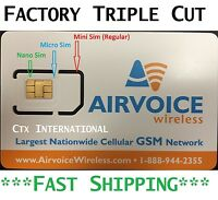 Airvoice Wireless SIM cards Combo  (Micro, Nano, Regular) | AT&T Coverage | New