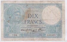 BILLET 10 FRANCS MINERVE UP 5 12 1940 UP 734 G 81351