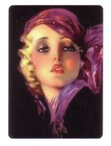 Beautiful Art Deco Lady Wearing a Purple Scarf -- Modern Linen Swap Playing Card